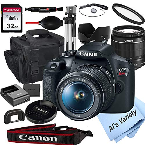 Canon EOS Rebel T7 DSLR Camera with 18-55mm f/3.5-5.6 is Zoom Lens + 32GB Card, Tripod, Case, and More (18pc Bundle)