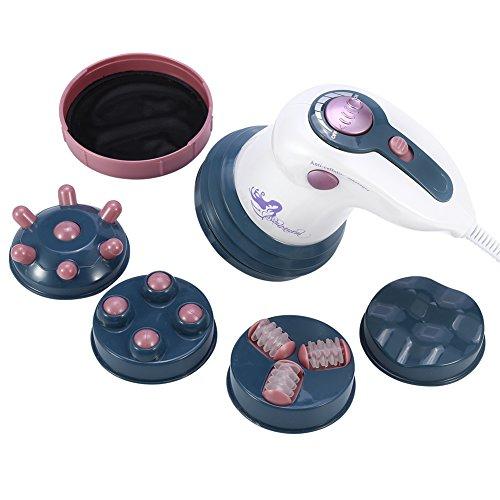Dispositif anti cellulite électrique, masseurs de cellulite électriques, massage amincissant Machine électrique combustion anti cellulite à vibration infrarouge avec tête massage 4 pièces (rouge)