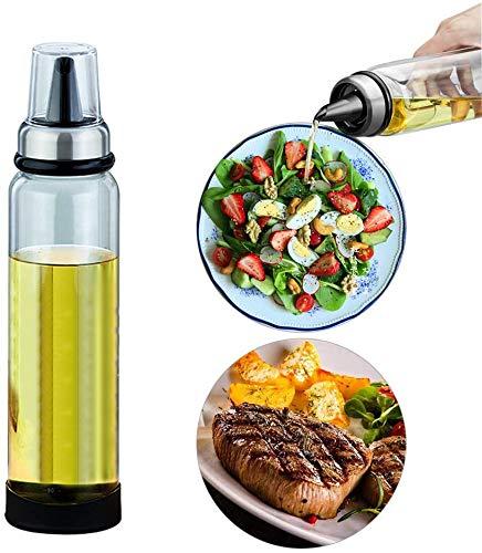 Queta Ölflasche Olivenöl Behälter aus hochwertigem Glas Essig/Öl Spender von Auslaufsicher für Kochenfür BBQ,Kochen,Grillen,Pasta, BPA-Frei, (500ml)