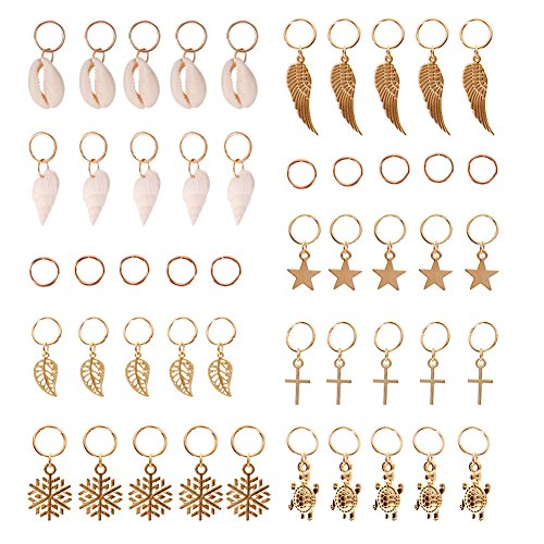 JuanYa 50 Pieces Hair Braid Rings Hair Charms Gold Shell Leaves Star Conch Snowflake Pendant Rings Set Hair Clip Headband Accessories