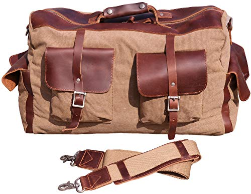 Iblue Canvas Travel Duffel Bag Leather Trim Weekend Overnight Tote Handbag