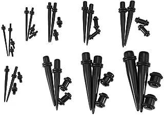 Juego completo de 36 piezas de dilatadores de oreja de acrílico para pendientes y tapones de túnel negro con doble anilla ...