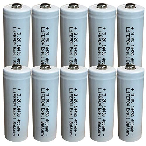 (10-Pack) Exell Battery 3.2V Li-FePO4 Size 14430 (14 x 43mm) 400mAh Rechargeable Battery for Garden Lights, Solar Lamps, LED Flashlights Fast USA Ship