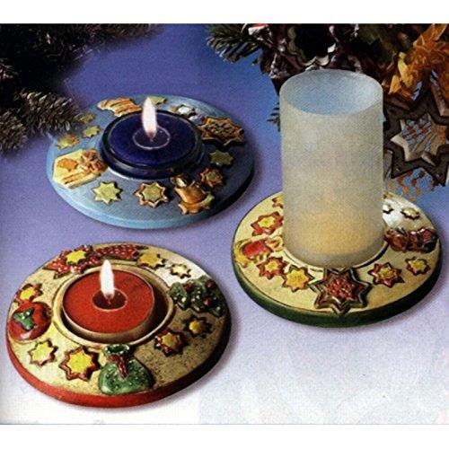 Stampo con 2 FORME PORTACANDELA Natale vigilia per colate di gesso ceramico