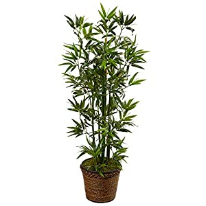Nearly Natural 4' Bamboo Artificial Tree in Coiled Rope Planter, Green