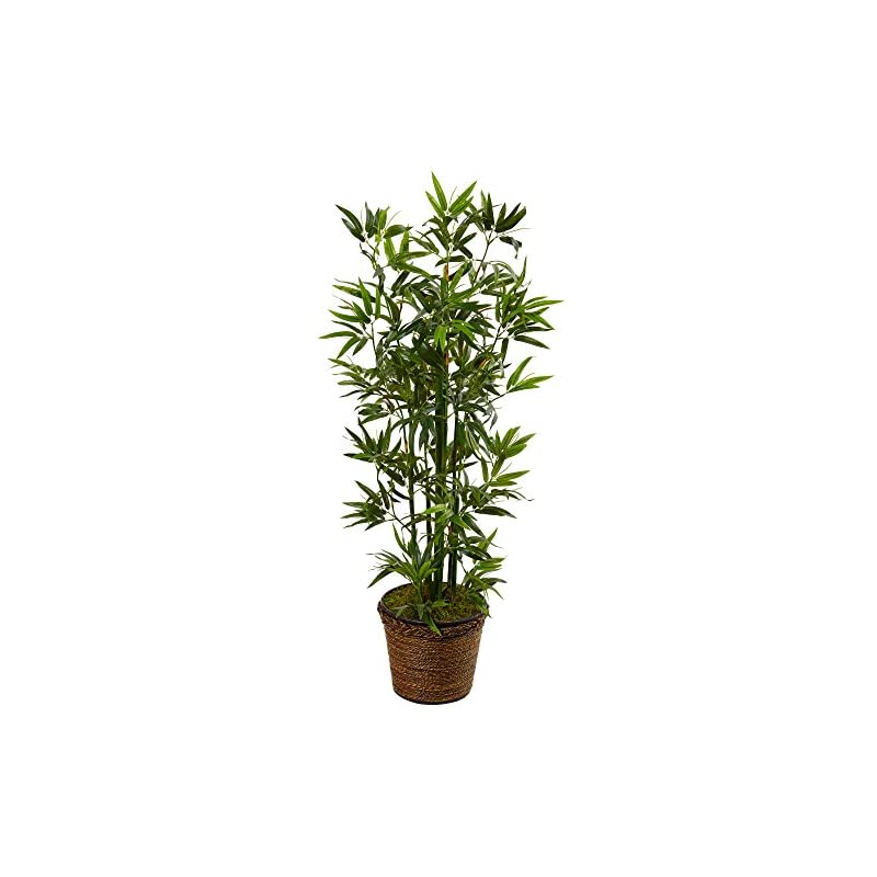 silk flower arrangements nearly natural 4' bamboo artificial tree in coiled rope planter, green