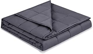 Syrinx Soft Weighted Blanket 15lbs, 60''x80'', Dark Grey for Adults, 100% Breathable Cotton with Glass Beads