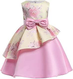 Áo quần dành cho bé gái – Litter Girls Floral Printed Princess Gowns Bow Party Wedding Dress
