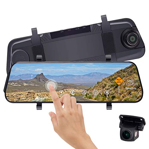 Leekooluu Mirror Dash Cam 10 Inch Touch Screen 1080P Rear View Mirror Camera Front and Rear Dual Lens Backup Camera Parking Monitor,G-Sensor, Night Vision, Loop Recording