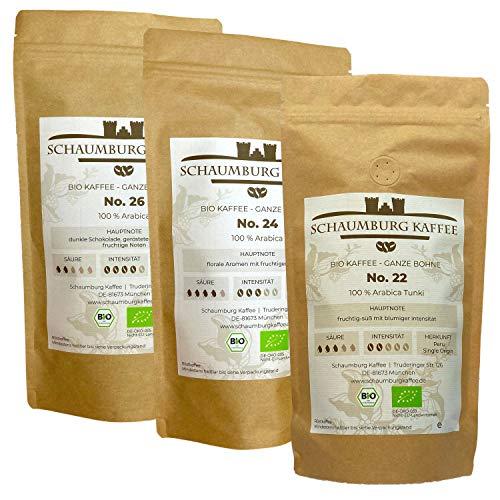 ☘️ Bio Kaffeebohnen Probierpaket 3 x 250 g | ganze Bohne | Schaumburg Kaffee