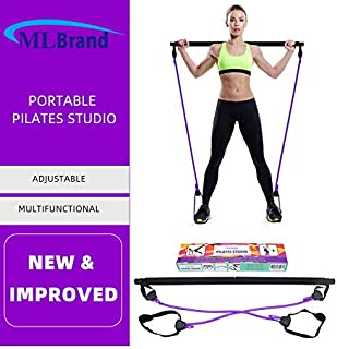 ML Brand - Pilates portátil con barra de resistencia | Barra de resistencia ajustable y longitud de pilates, barra de toni...