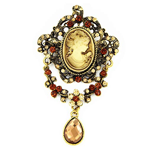SUCHUANGUANG Lady Vintage Cameo Victorian Style Wedding Party Pendant Brooch Pin Gift Brooch A#