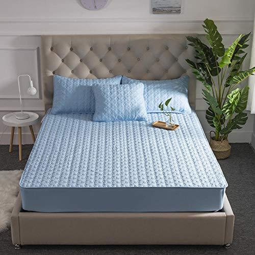 FFLDM Spannbettlaken Super Soft,Einfarbiger Matratzenschoner aus Baumwolle, extra Dicke, rutschfeste Spannbetttücher, Tagesdecken für Einzel- und Doppelhotels-Blue_90X200 + 30cm