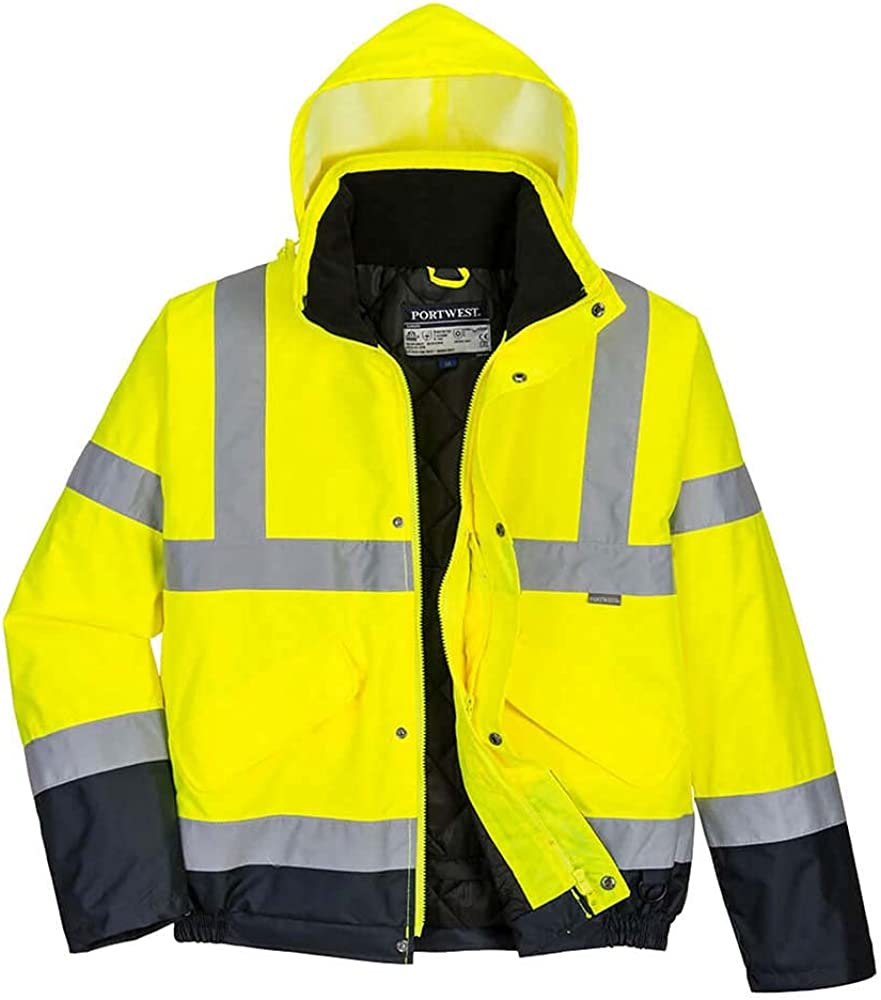 Portwest Unisex Hi-Vis Bomber Jacket (S463) / Workwear/Safetywear (M) (Hi-Vis Yellow/Navy)