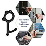 No Touch Tool Handheld EDC Keychain Tool –Closer Contactless Safety Door Opener Smart Key Tool for Infected Surfaces, Touchscreens, Handles, Buttons (Black)