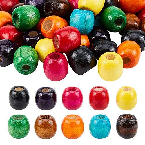 PandaHall 200 cuentas de madera con 10 colores, 6 mm de agujero grande, cuentas sueltas para pulseras, collares, manualidades, joyería, 16,5 x 16,5 mm
