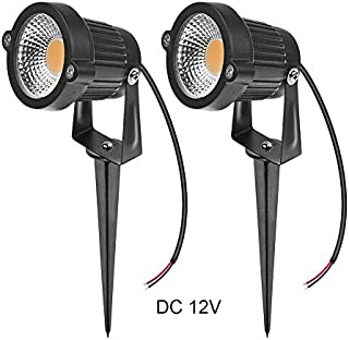 LemonBest High Power Outdoor Decorative Lamp Lighting 5W COB LED Landscape Garden Wall Yard Path Light Warm Cool White DC 12V w/Spiked Stand, Pack of 2 (Warm White)