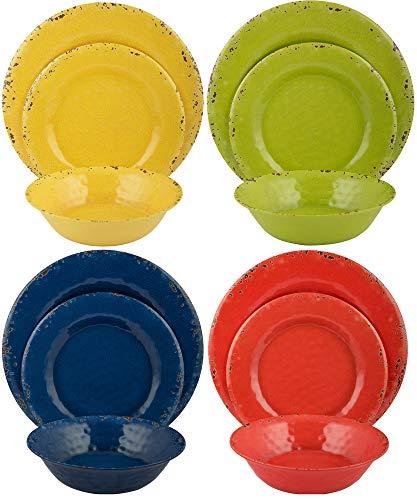 Melange 12-Piece Melamine Dinnerware Set (Rustic Collection) | Dinner Plate, Salad Plate & Soup Bowl (4 Each) | Multicolor