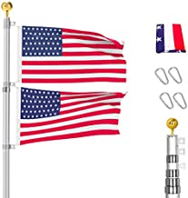 20FT Telescoping Flag Poles Kit - Portable 16 Gauge Telescoping Aluminum Flagpole Fly 2 Flags, Heavy Duty Flagpole with 3x5 USA Flag for Commercial or Residential