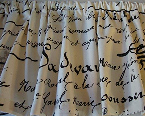 Valance Black French Script Writing on Off-White Cream Background Window Treatment Topper Custom Made