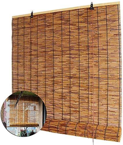 Rollo Bambú, Protector Solar De Bamboo Rollo, Rollo Jalousín De Naturaleza De Reed, Raffrollo De Bambú Para El Balcón Del Patio Al Aire Libre, Con Accesorios,110 x 135 cm (43 x 53 in)