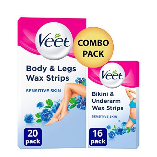 Veet Hair Removal Wax Strips for Sensitive Skin Bikini & Underarm (16 Strips) and Legs & Body (20 Strips), Total 36 Strips