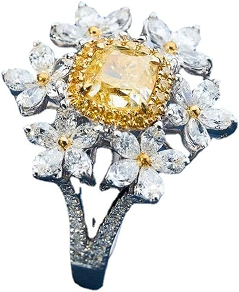Floral Yellow Princess Cut Cubic Zirconia Statement Rings for Women Ladies Middle Finger Ring Adjustable Open Expandable Gaudy Dainty Handmade Elegant Promise Wedding Promise Best Gifts Mother Birthday BFF