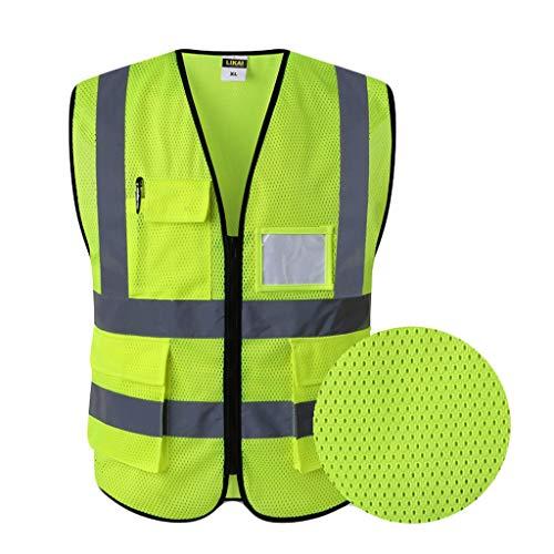 Fluorescerend geel reflecterend veiligheidsvest ademend net werkkleding met meerdere zakken veiligheidsvest reizen 's nachts veiligheid