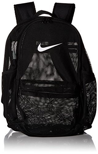 Nike Unisex-Erwachsene Nk Brsla Mesh Bkpk Rucksack, Schwarz (Black/Black/White), 15x24x45 Centimeters (W x H x L)