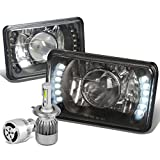 4X6 inches Black Housing Glass Lens Built-In LED Projector Headlight Set of 2 + H4 LED Conversion Kit W/Fan