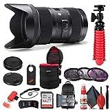 Sigma 18-35mm f/1.8 DC HSM Art Lens for Canon EF (210-101) Bundle + Backpack + 64GB Card + Lens Case + Card Reader + 3 Piece Filter Kit + Cleaning Set + Flex Tripod + Memory Wallet + More