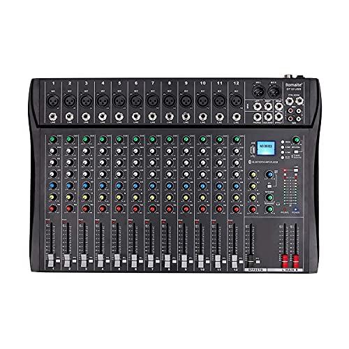 Bomaite DT12 スタジオ オーディオ ミキサー 12 チャンネル DJ サウンド コントローラー インターフェイス、コンピューター録音入力用 USB ドライブ、XLR マイク ジャック、48V 電源、プロおよび初心者用の RCA 入力 出力