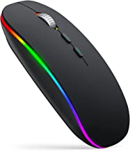 LED Wireless Mouse for Laptop, iTopschy 2.4G Rechargeable Wireless Computer Mouse with USB Receiver,Silent, RGB Cordless M...