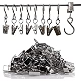 Aooweno 50Pcs Stainless Steel S Hooks Curtain Clips, Hanging Clamp Hooks Hanger Clips for Curtain Awning Curtain Home Decoration Art Craft, Christmas Party Decor Supplies for Photo Display
