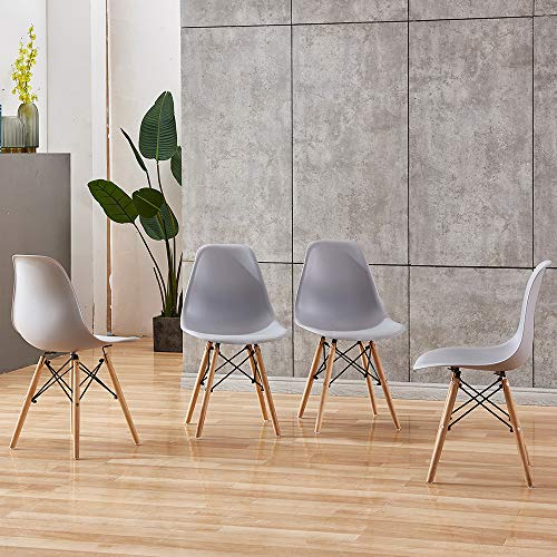 HomeSailing EU Set of 4 Polyethylene Dining Chairs and Rectangle Dining Table Sets with Wood Legs Retro Lounge chair for Living Room Kitchen Office Restaurant