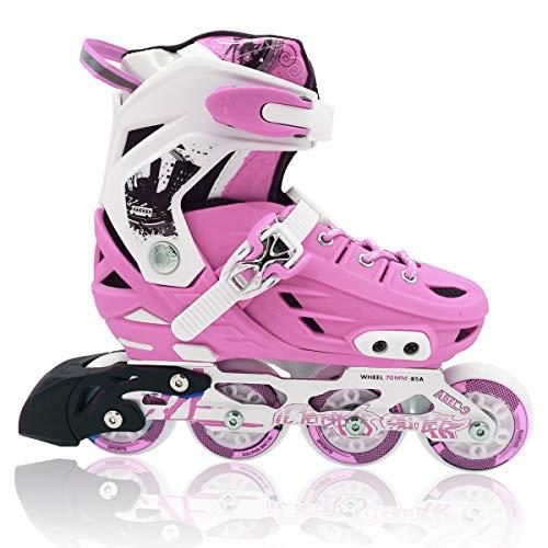 Lucky-M Pink/Blue/Black Children's Adjustable Inline Skates Stunt Flat Roller Skates, Children's Fun Roller Skates, Suitable for Beginners and Professional Stunt Skating Enthusiasts. (Pink, Medium)