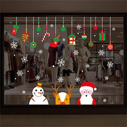 2 BläTter Weihnachtsdeko Elch Socke Entfernbar Weihnachtssticker Fenster Weihnachten Schaufensterdekoration Wandaufkleber Wandtattoo Wandsticker