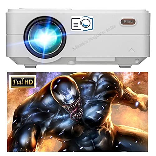PLAY Full HD LED Latest Portable Mini Projector for Home Entertainment Office Education | Based Resolution 1920x1080p | 1 Year Warranty by Play Projector India | USB / AV / VGA / HDMI / Audio Out LCD Panel Home Theater with Remote Control