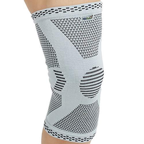 Neotech Care - Stützende Kniebandage aus Bambusfaser (1 Einheit) - leichtes, elastisches, bequemes & atmungsaktives Material - für Damen, Herren & Jugendliche - rechts oder links tragbar - Grau - M