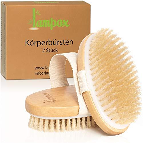 Trockenbürsten [2er Set], Körperbürste, Peelingbürste, Massagebürste, Peeling körper, Bürste zum Entfernen abgestorbener Haut, verbessert Lymphfunktionen