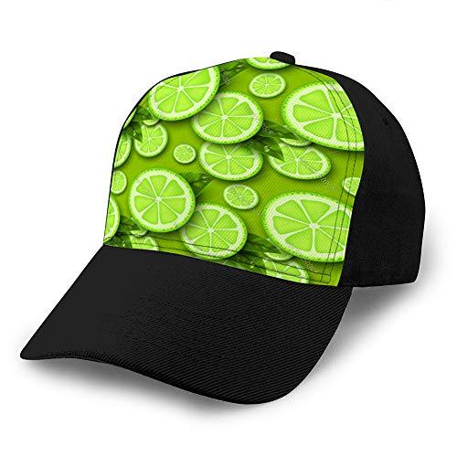 Sombrero clásico de algodón Gorra Lisa Ajustable, Gorra de béisbol Tamaño Ajustable Sombrero de Visera Curvada patrón Transparente de Fruta de Lima Gorra de béisbol de Mezclilla Personalizada