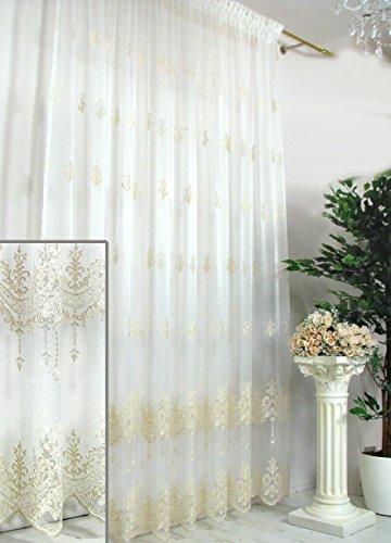 Trendoro Gardine, Fertiggardine mit feiner Stickerei Kollektion Vincenzo, transparent, Größe 180 x 245 cm, individuelle Größen lieferbar, Ateliergefertigt.