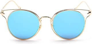 LUKEEXIN Vintage Metal Rimmed Cat Eyes Sunglasses UV Protection for Outdoor Driving Vacation Beach for Women Men (Color : Blue)