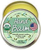 Organic Hand Cream Balm for Dry Cracked Hands - Moisturizing Hand Repair Cream for Women and Men - 100% All Natural and Made in USA & USDA Certified