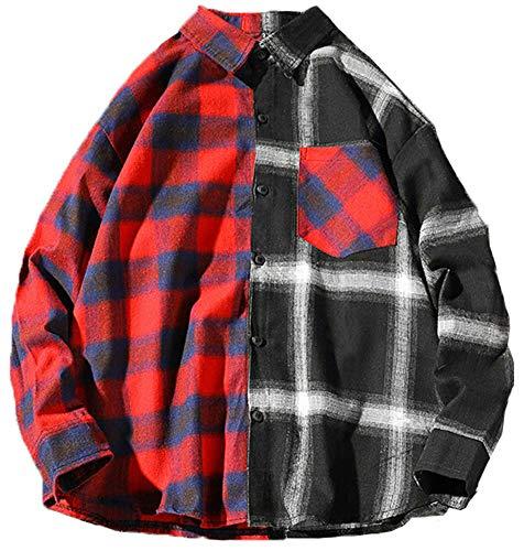 LifeHe Men's Women Hip Hop Patchwork Button Down Long Sleeve Plaid Shirts Streetwear Oversized (Red, M)