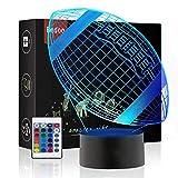 LED Nacht Lichter 3D Illusion Nachttisch Lampe 16 Farben ändern Schlafen Beleuchtung mit Smart Touch Button Nette Geschenk Warming kreative Dekoration ideale Kunst und Handwerk Rugby