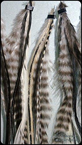 'Lot de 5 plumes extensions Black and White pour cheveux noirs