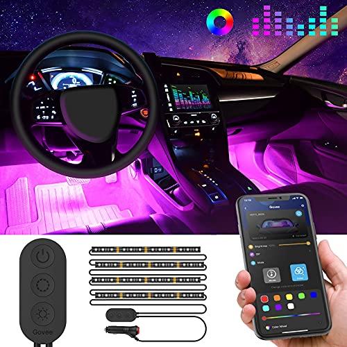 Striscia LED Auto con APP, Govee Luci LED Interne per Auto con 48 LEDs 9 Colori Multicolore Impermeabile, Musica sotto il cruscotto Kit di illuminazione, Controllo APP, DC 12V