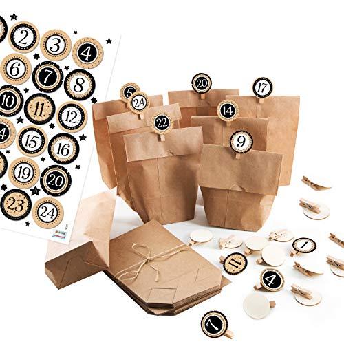 Logbuch-Verlag 24 Adventskalender Papiertüten z. Befüllen Set: Tüten + 1 bis 24 Aufkleber + KLAMMERN – schwarz weiß braun Vintage Selbermachen Erwachsene DIY