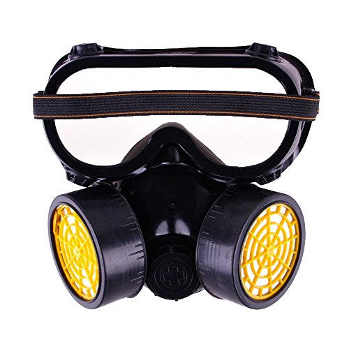 Vogholic Industrial Chemical Gas Anti-Dust Spray Paint Dual Respirator Mask with Goggles